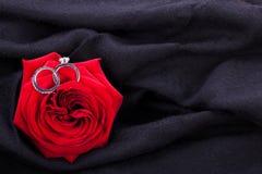 Bague de fiançailles de diamant au coeur d'une rose rouge Image stock