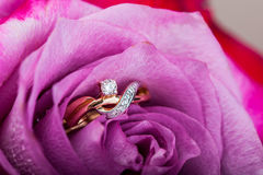 Bague de fiançailles de diamant d'or dans le beau rose Photographie stock libre de droits