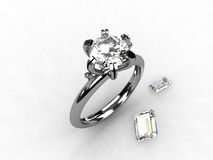 Bague de fiançailles de solitaire de platine de diamant Images stock