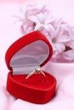 Bague de fiançailles et jacinthe Photographie stock