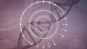 Bagues blanches à filer et à tourner l'ADN sur fond de violet muet illustration stock
