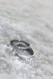 Bagues de fiançailles dans la neige Images libres de droits