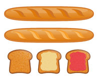 Baguette. Illustration of Baguette. Toast with jam Stock Image