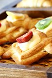 Baguette. With fruit on wooden plate Stock Photo