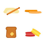 Baguette al forno fresche della prima colazione dello spuntino del grano della segale della pagnotta del grano del forno del past Fotografia Stock