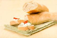 Baguette with Appetizer Royalty Free Stock Photography
