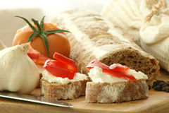 Baguette as a snack Stock Images