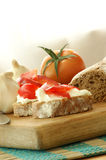 Baguette as snack with cottage cheese Royalty Free Stock Photography