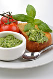 Baguette as snack with fresh pesto Royalty Free Stock Images