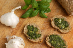 Baguette as a snack with homemade pesto Stock Photography