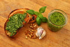 Baguette as a snack with homemade pesto Royalty Free Stock Photos