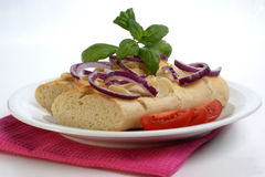 Baguette as snack with onion and tomato Royalty Free Stock Image