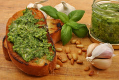 Baguette as a snack with pesto Royalty Free Stock Image