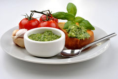 Baguette as a snack with pesto Royalty Free Stock Photography