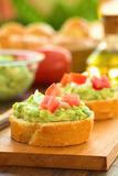 Baguette with Avocado and Tomato Stock Photography