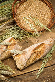Baguette baked with wholemeal flour Royalty Free Stock Photography