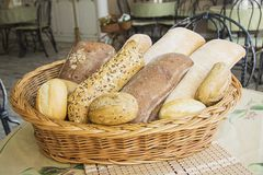 Baguette  in a basket Stock Photos
