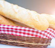 Baguette in a basket Royalty Free Stock Photo