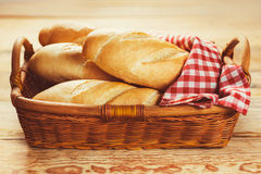 Baguette in a basket Royalty Free Stock Images