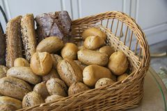 Baguette bread in a basket. Closeup of some long  French baguette bread Stock Images