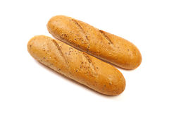 Baguette bread with various cereals isolated on a white backgrou. Nd Royalty Free Stock Image