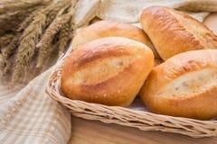 Baguette or bread in wicker basket Royalty Free Stock Image