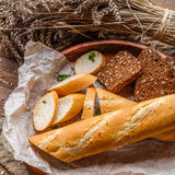 Baguette ,bread in wooden plate Royalty Free Stock Images