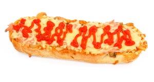 Baguette caldo del formaggio e del prosciutto Fotografie Stock