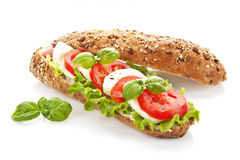 Baguette caprese isolated. Royalty Free Stock Photos