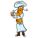 Baguette cartoon French chef character prepares Royalty Free Stock Photography