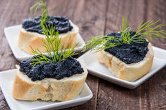 Baguette with Caviar Stock Photography