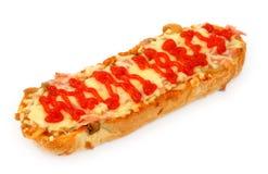 Baguette chaude de jambon et de fromage Image libre de droits