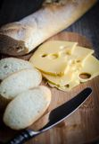 Baguette and cheese Royalty Free Stock Photos