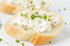 Baguette with cottage cheese and green onion closeup Royalty Free Stock Photography
