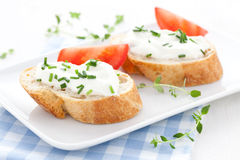 Baguette and cream cheese Stock Photo