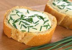Baguette with Cream Cheese and Chives Stock Photo