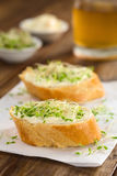 Baguette with Cream Cheese and Sprouts Stock Photos