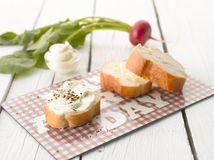 Baguette with Cream Cheese Stock Image