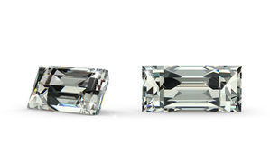 Baguette Cut Diamond. (computer generated image stock illustration