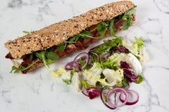Baguette d'oignon de tomate d'oeufs de laitue de sandwich image stock