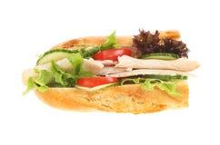 Baguette de Turquía y de la ensalada Fotografía de archivo libre de regalías