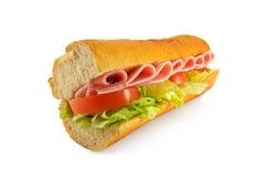 Baguette del panino dell'insalata del prosciutto Immagini Stock