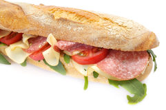Baguette do Salami Foto de Stock Royalty Free