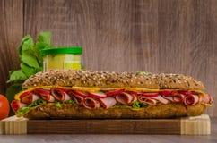 Baguette do Wholemeal com traseiro fumado Imagem de Stock