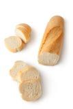 Baguette e fatias friáveis Fotografia de Stock