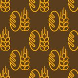 Baguette and an ear of wheat. Seamless repeat pattern of a French baguette and an ear of ripe golden wheat on a brown background in square format, vector design Royalty Free Stock Image