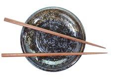 Baguette en céramique de plat et en bois Image stock