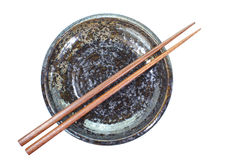 Baguette en céramique de plat et en bois photo stock