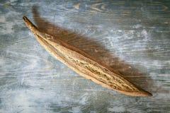 Baguette fran?aise traditionnelle, un type de cannelure de ficelle, une version mince avec des graines et grains, sur l'affichage photographie stock libre de droits