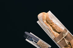 Baguette francês com cutelaria Foto de Stock Royalty Free